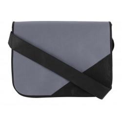 Besace non tissé rabat avec empiècement gris / noir