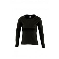 Tee-shirt manches longues femme semi-peigné 150 g couleur