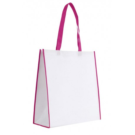 Sac shopping 23L à large soufflet blanc / fuchsia