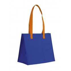 Sac shopping à soufflet large non tissé bicolore bleu royal / orange