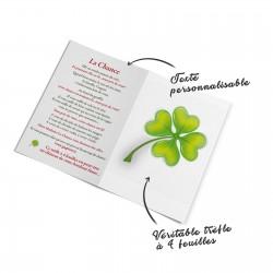 Carte de vœux 100% personnalisable avec véritable trèfle à 4 feuilles à l'intérieur