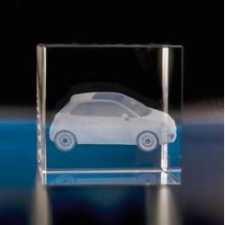 Cube verre optique gravé laser
