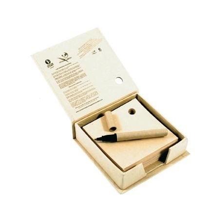 Bloc papier recyclé avec stylo