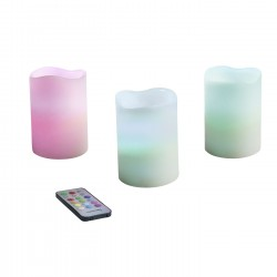 SET DE 3 BOUGIES CIRE LED MULTICOLORE