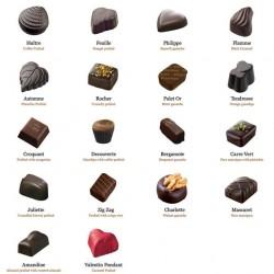 Assortiment de 18 pralines au chocolat noir