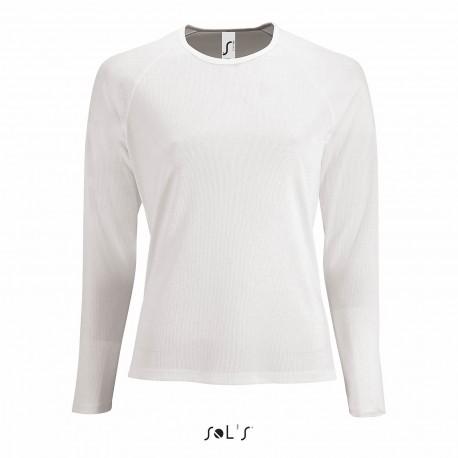 Tee-shirt respirant manches longues femme 140 g blanc