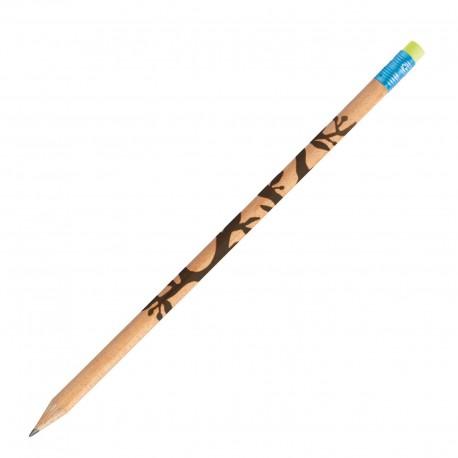 Crayon de papier pin sylvestre rond vernis incolore gomme