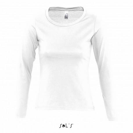 Tee-shirt manches longues femme semi-peigné 150 g blanc