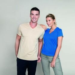 Tee-shirt col v homme peigné 180 g blanc