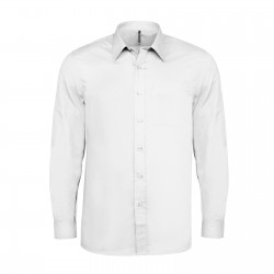 Chemise manches longues polycoton homme 100 g blanche