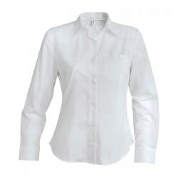 Chemise manches longues polycoton femme 100 g blanche