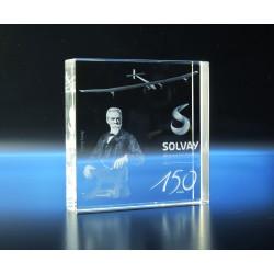 Bloc carré verre optique 10 x 10 x 2 cm