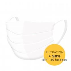 Masque de protection tissu lavable blanc catégorie 2