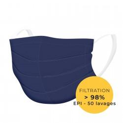 Masque de protection tissu lavable bleu catégorie 1