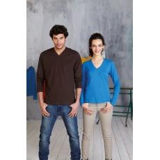 Tee-shirt col V femme ou homme, 180 g