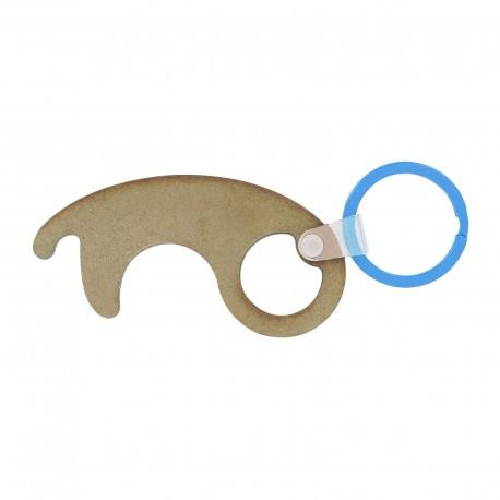 Porte-clés sans contact en bois Cessy Transparent