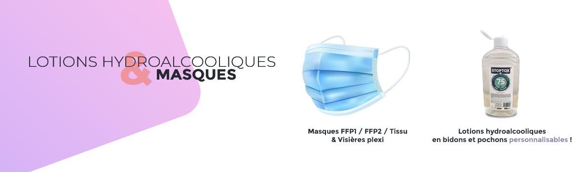 lotions, gels hydroalcooliques t masques de protections