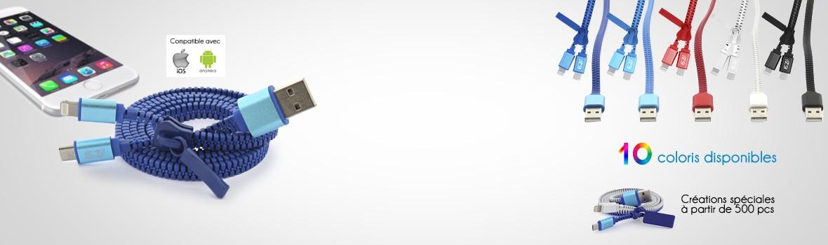 Câble de chargement pour smartphone, compatible avec Iphone (IOS) et Androïd.
